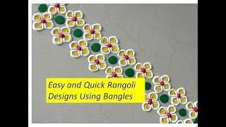 Super Quick and Easy Border Rangoli Designs Using Bangles| Creative Rangoli by Shital Mahajan