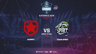 Gambit Esports vs Team Spirit, ESL One Katowice, EU Qualifier, bo5, game 1 [Mortalles]