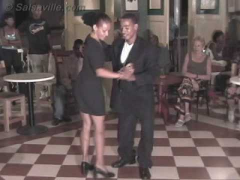Yoannis and Miriam dancing a mix of salsa and son in Santiago de Cuba, 2002