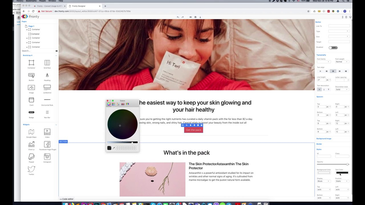 Fronty - Convert image to HTML CSS source code based on