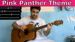 Tutorial: Pink Panther - Fingerstyle Guitar w/ TAB (Including B Part!)