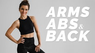 Toned Arms, Abs & Back Workout | No equipment & No repeat | With Warm Up and Stretch | DAY 6