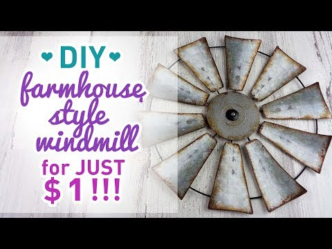 DIY Farmhouse Style Windmill For $1 - Dollar Tree - Look For Less Challenge