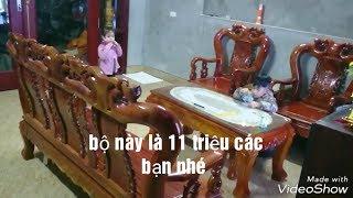Bộ bàn ghế tầm 10 triệu.  bộ đồng kỵ gỗ xà Cừ giá 11 triệu - VTV3 Offline