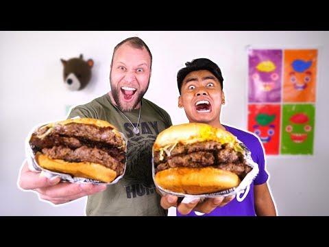 HUGE Burger Eat Off Challenge vs Guava Juice!