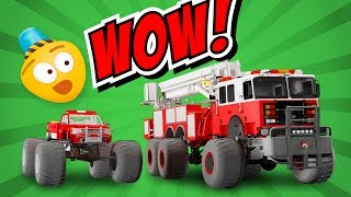 Fire Brigade's Monster Trucks - Cartoon for kids about Monster Fire Truck