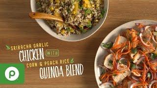 Sriracha Garlic Chicken with Corn and Peach Rice Quinoa Blend. A Publix Aprons recipe.