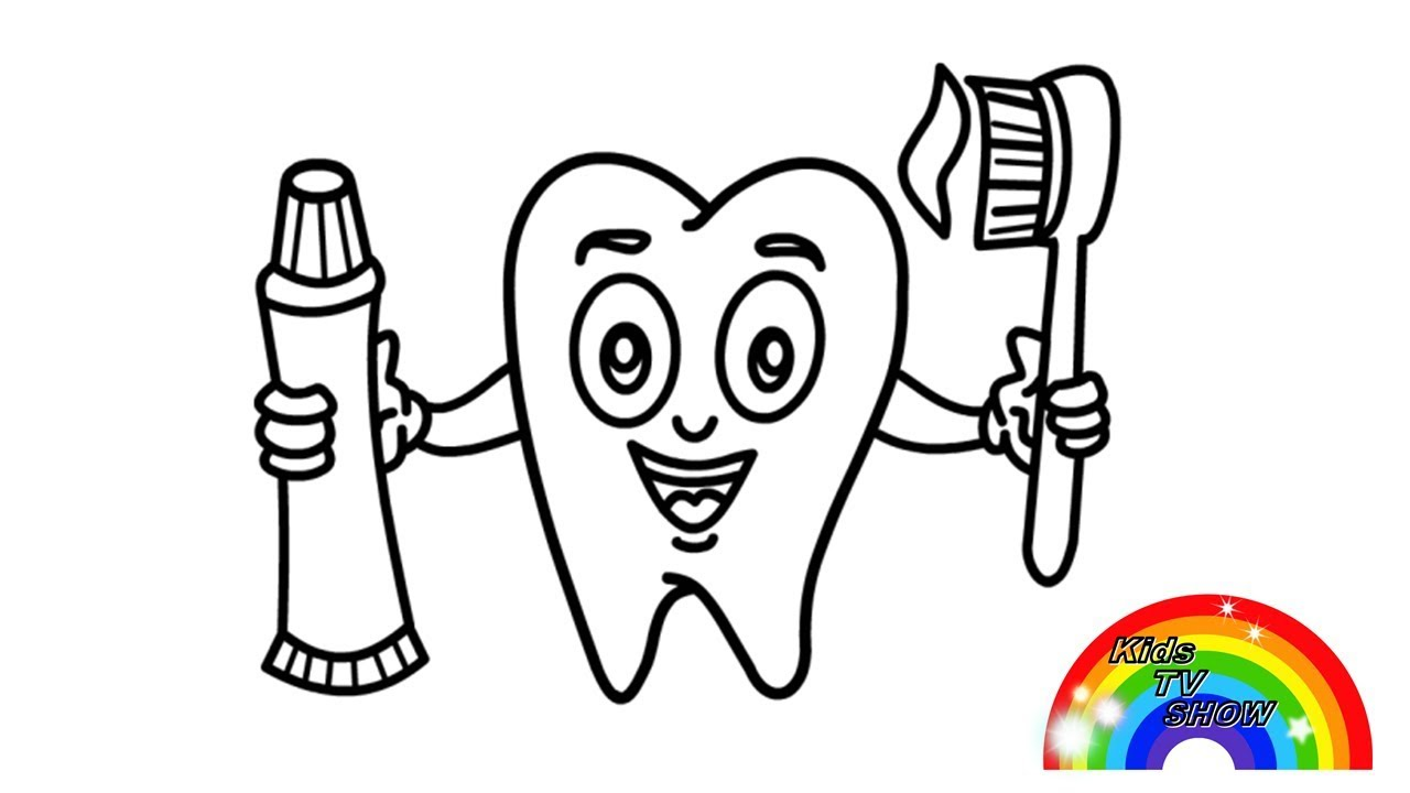 Зубная Паста и Зубная Щетка, Детские Раскраски с Цветными ...