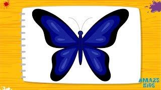 Как Нарисовать Бабочку для Детей. Учимся Рисовать Животных. Рисунки Своими Руками. Уроки Рисования