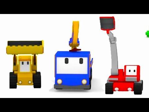 Le Studio de cinéma avec Tiny Trucks: bulldozer, grue, tractopelle   Dessin animé éducatif