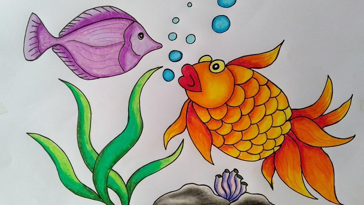 Cara Mewarnai Ikan Hias Menggambar Ikan Hias Youtube