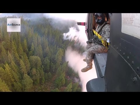 Aerial Firefighting: National Guard Helicopter Battles the Rim Wildfire at Yosemite