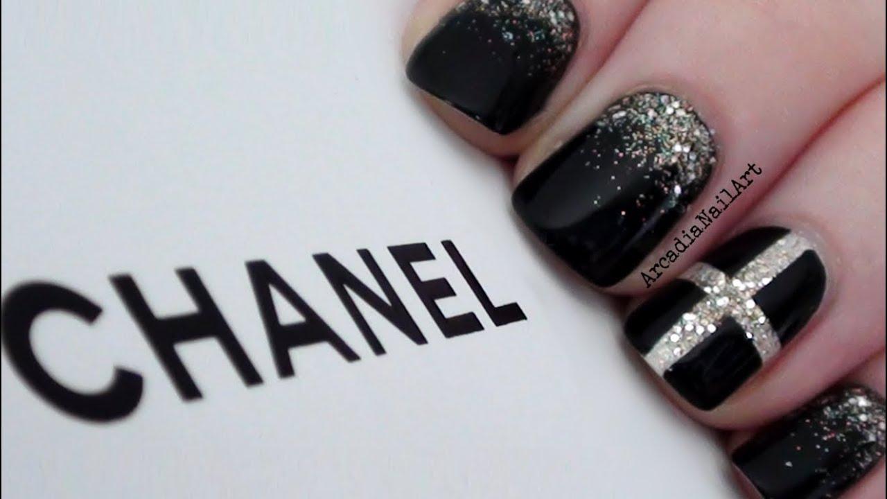 chic chanel inspired nails arcadianailart