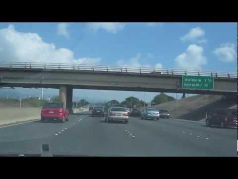 Waipio to Honolulu Drive H-2 & H-1 Freeway Oahu Hawaii