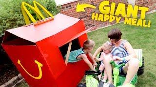 McDonald's Happy Meal DIY PlayHouse Box Fort! Drive Thru Prank & Backyard Family Fun!