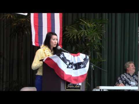 Kalei Akaka at the Hawaii County Democratic Convention