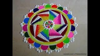 Bright multicolored kolam for festivals | Easy rangoli designs by Poonam Borkar