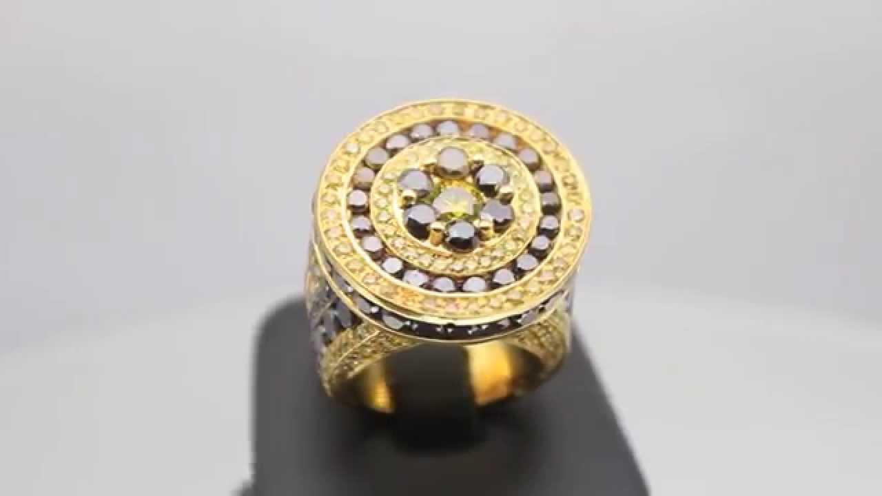 d7112234b8b9f Men's 14K Solid Yellow Gold Diamond Pinky Ring 15.90 Ctw