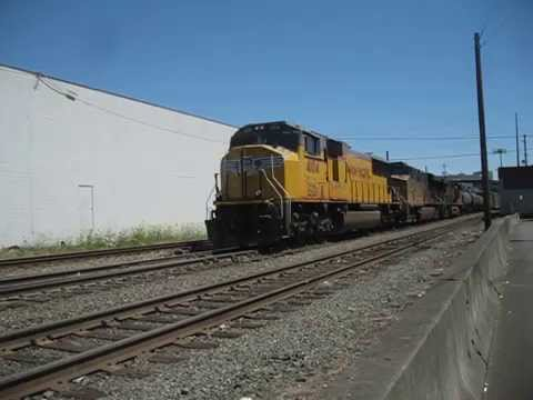 Union Pacific SD70M # 4104 bring manifest train to stop outside of Albina Yard   7/25/14