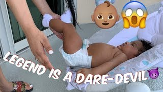 LEGEND ALMOST FELL OFF!!! | 3 MONTH BABY UPDATE