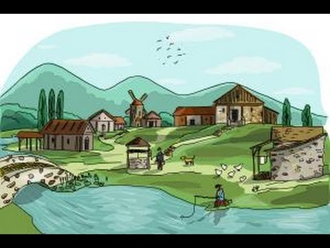How to draw a village scene