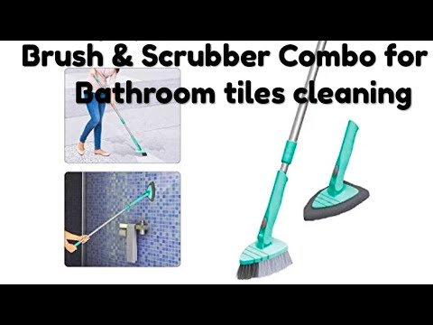Brush and scrubber combo for bathroom tiles cleaning by sportzero milton
