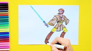 How to draw and color Obi Wan Kenobi - Star Wars Series