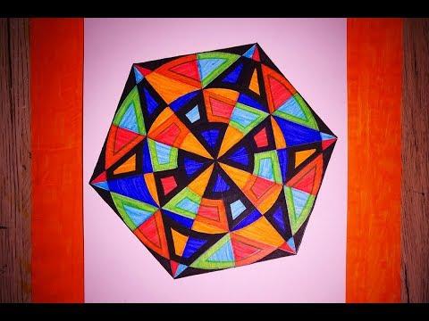 How To Paint Simple Hexagram Geometric Design   Hexagonal Art Tutorial thumbnail