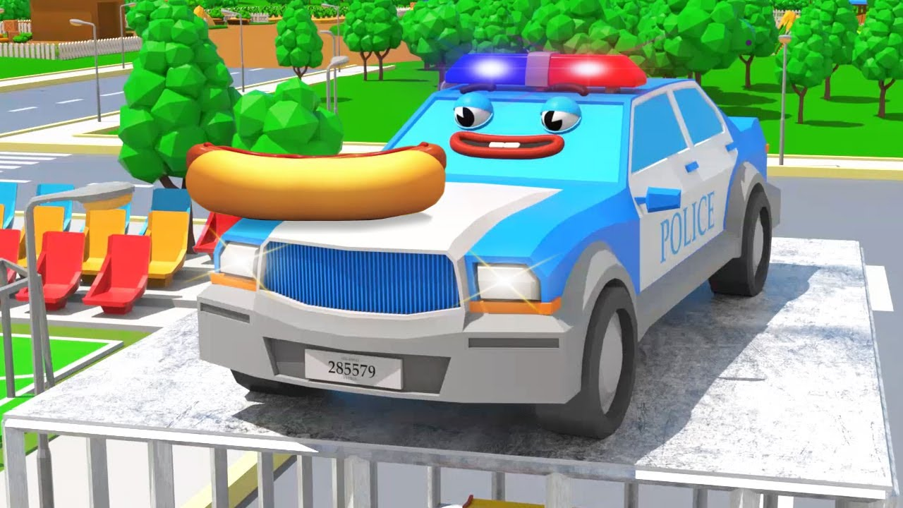 Police Car Catching The Race Car for Kids - 3D Cars Cartoons
