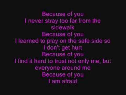 Kelly Clarkson: Because of You (lyrics)