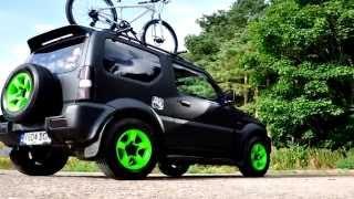 Suzuki Jimny Matt Black Respray With Monster Green Wheels