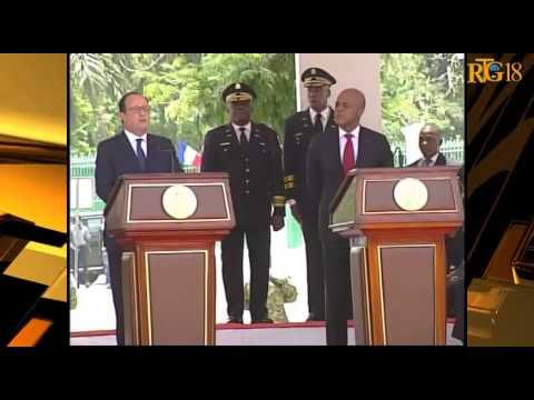Visite officielle du Président Francais, Francois Hollande en Haïti,12 mai 2015.-Radio télé Ginen.