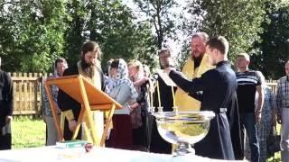 Освящение закладного камня комплекса воскресной школы Никольского храма  в Ребровке