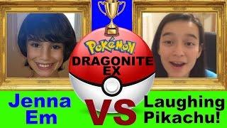 Jenna Em VS Laughing Pikachu Battle! Pokemon Dragonite EX Box!