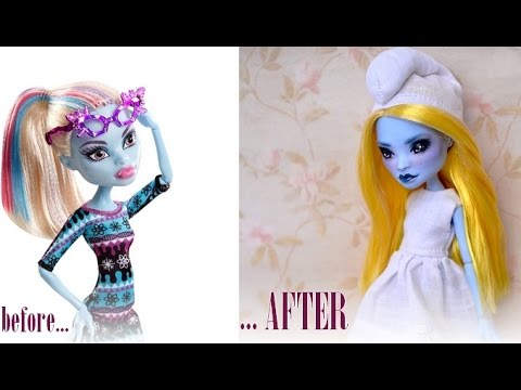 Smurfette - Repainting Abbey Bominable Monster High doll
