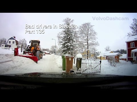 Bad Drivers in Sweden #135 Stuck in snow, lemmings and plows!