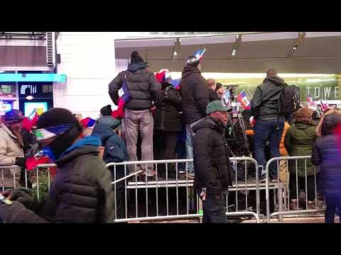 Haitians Celebrating Martin Luther King Jr Day in Times Square NYC