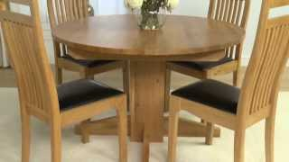 Dorchester Solid Oak Extending Round Dining Table And Monaco Chairs - Ofstv