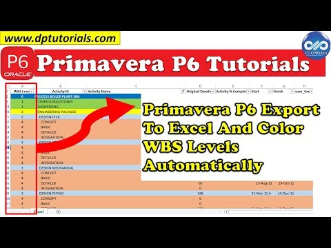 Primavera P6 Export To Excel And Color WBS Levels