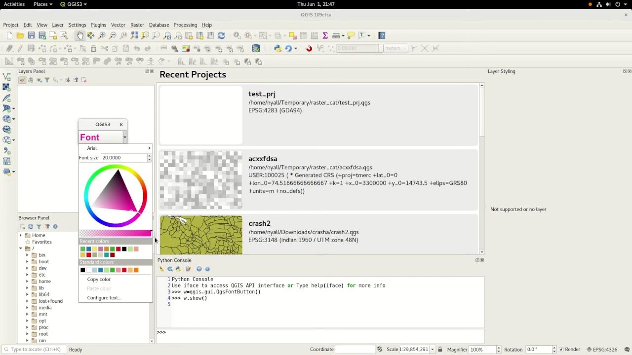 QGIS Font button demo