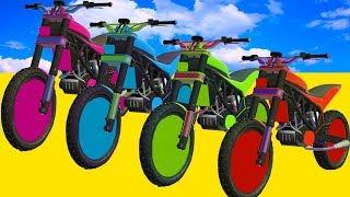Мультики про цветные Мотоциклы и Велосипеды для Детей Супергерои прыгают в Воду Учим цвета