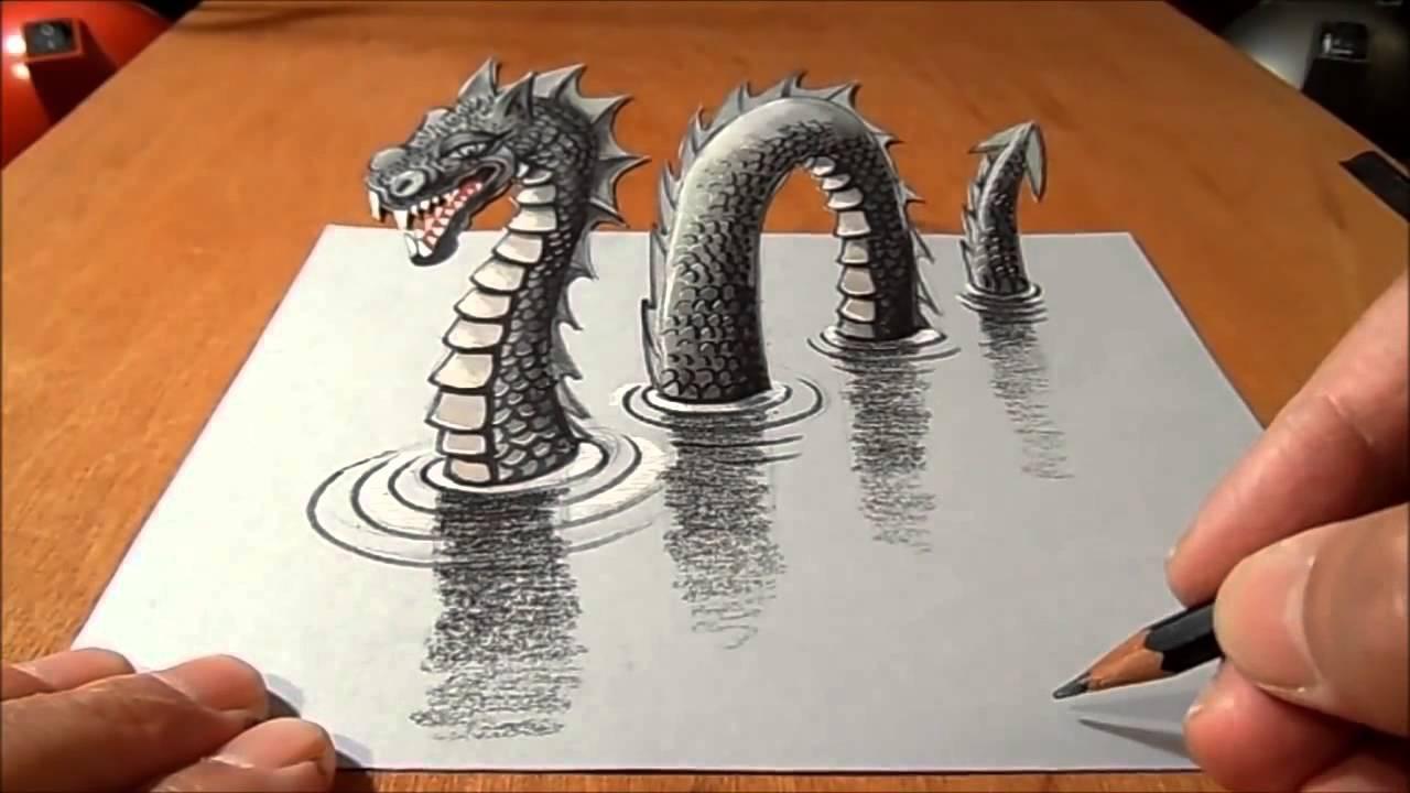 Animasi 3d ilusi menggambar dan melukis naga tampak hidup for 3d tekening maken van badkamer