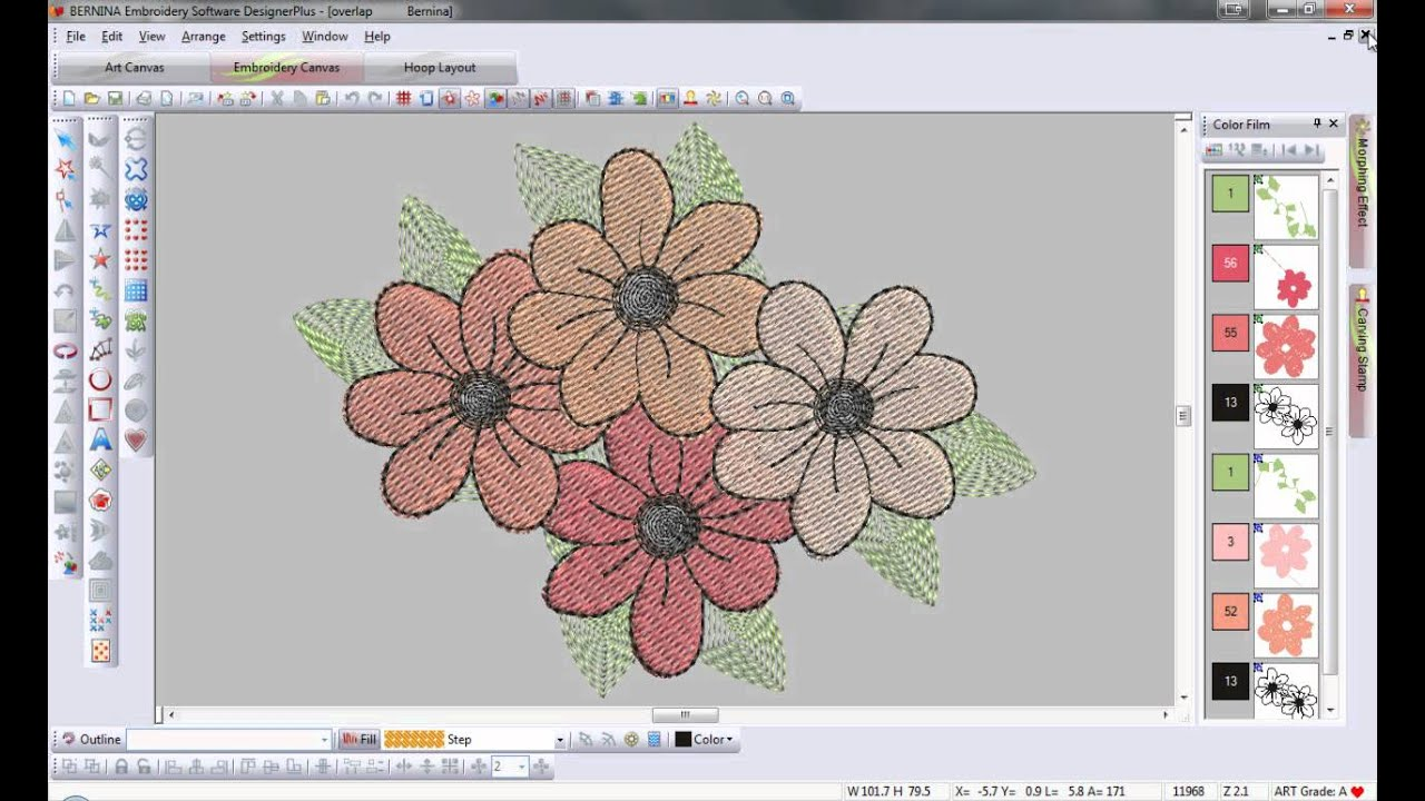 Bernina Embroidery Software 6 Remove Overlaps Tool Tip 11 Youtube