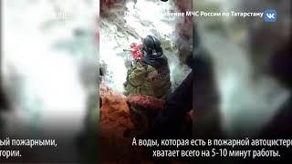 В Новой Сосновке пожарным пришлось откапывать гидрант из кучи снега