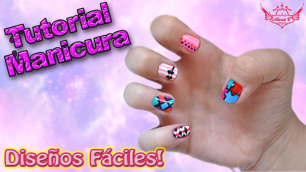 ♥ Tutorial MANICURA: Diseños Fáciles! ♥ - YouTube