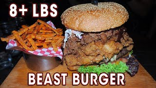 8LB BEAST BURGER w/ Pulled Pork and Fried Chicken!!