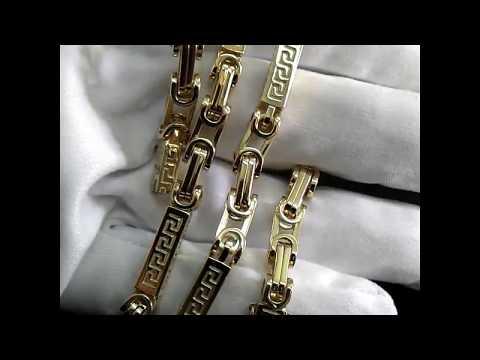 Золотая цепочка эксклюзивное плетение Древнегреческое на заказ: вес 109гр., жёлтое золото 585 пробы