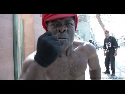 Midget from Las Vegas Cops goes ape shit in a Los Angeles (Skid Row) interview with Shanks Rajendran