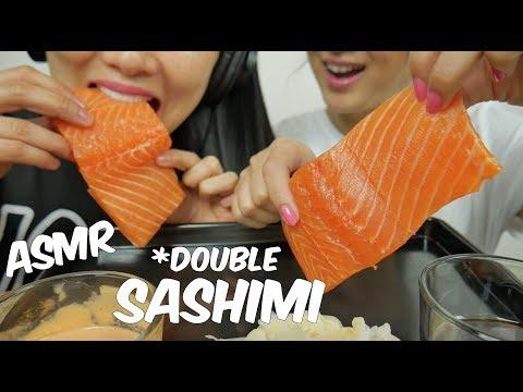 ASMR SALMON SASHIMI (EXTREME *Double* SAVAGE EATING SOUNDS) No Talking | SAS-ASMR