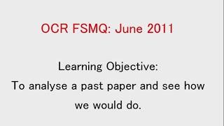 ocr fsmq additional mathematics past paper 5 june 2011